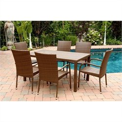 Abbyson Living Palermo 7 Piece Wicker Patio Dining Set in Brown