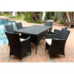 Abbyson Living Pasadena 7 Piece Wicker Patio Dining Set in Black