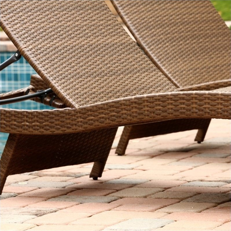 Abbyson living palermo outdoor wicker chaise in brown set for Brown chaise lounge outdoor