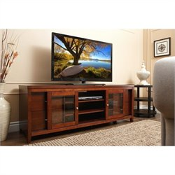 Abbyson Living Italia 72-inch Solid Oak Wood TV Console in Walnut