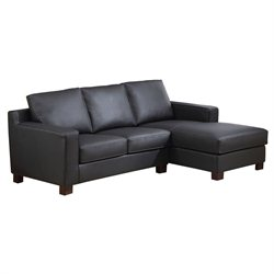 Abbyson Living Beverly Bonded Leather Sectional Sofa in Black
