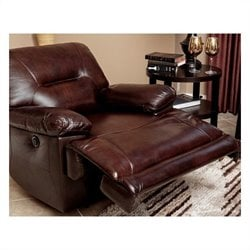 Abbyson Living Rio Power Reclining Leather Arm Chair in Brown