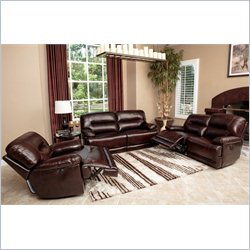 Abbyson Living Rio 3-Piece Power Reclining Leather Sofa Set in Brown