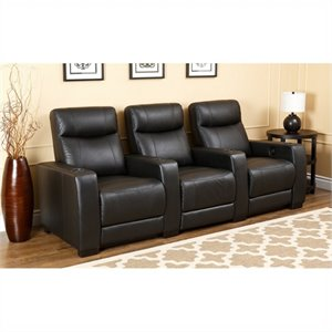 Abbyson Living Montgomery 3 Piece Top Grain Leather Recliners in Black