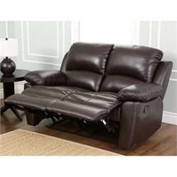 Abbyson Living Bella Leather Reclining Loveseat in Espresso