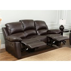 Abbyson Living Bella Leather Reclining Sofa in Espresso