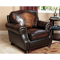 Abbyson Living Tannington Leather Arm Chair in Brown