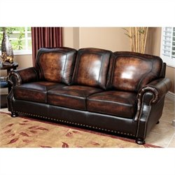 Abbyson Living Tannington Top Grain Sofa in Brown