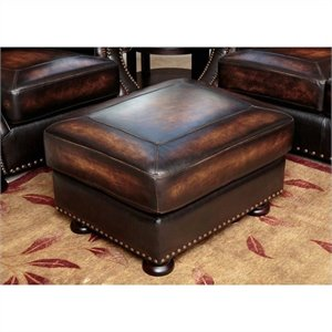 Abbyson Living Tannington Leather Ottoman in Brown