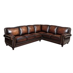 Abbyson Living Nizza 2 Piece Leather Sectional in Brown