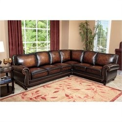 Abbyson Living Nizza Woodtrim Hand Rubbed Leather Sectional in Brown