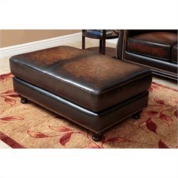 Abbyson Living Nizza Woodtrim Hand Rubbed Leather Ottoman in Brown