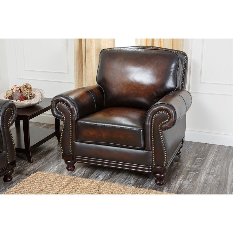 Abbyson Living Barclay Leather Arm Chair In Espresso Ci