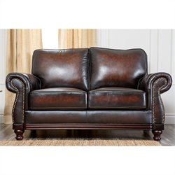 Abbyson Living Barclay Leather Loveseat in Espresso
