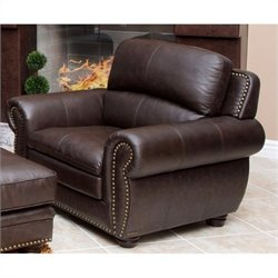 Abbyson Living Harrison Leather Arm Chair in Brown