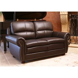 Abbyson Living Harrison Leather Loveseat in Brown