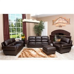 Abbyson Living Harrison 4 Piece Leather Sofa Set in Brown