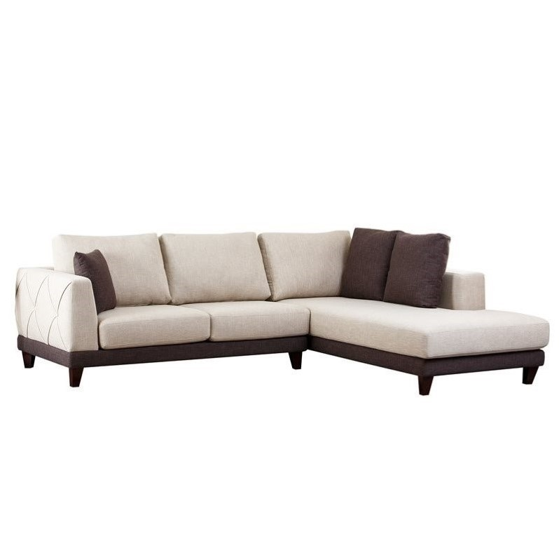 Charmant Abbyson Juliette Fabric Sectional Sofa In Cream