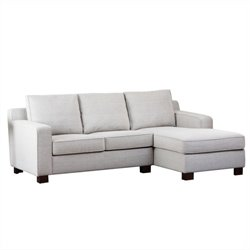 Abbyson Living Regina Fabric Sectional Sofa in Gray