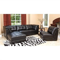 Abbyson Living Donovan 5 Piece Modular Leather Sectional in Black
