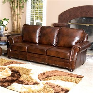 Abbyson Living Karington Leather Sofa in Brown