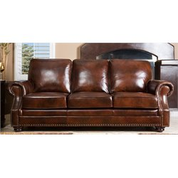 Abbyson Living Karington Hand Rubbed Leather Sofa in Brown