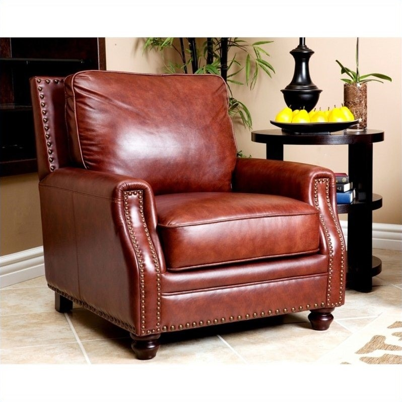 Abbyson Living Bel Air Leather Arm Chair In Brown Sk 8040 Cst 1