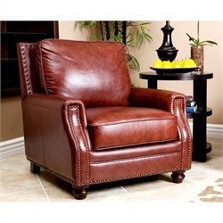 Abbyson Living Bel Air Leather Arm Chair in Brown