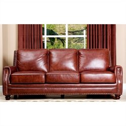 Abbyson Living Bel Air Leather Sofa in Brown