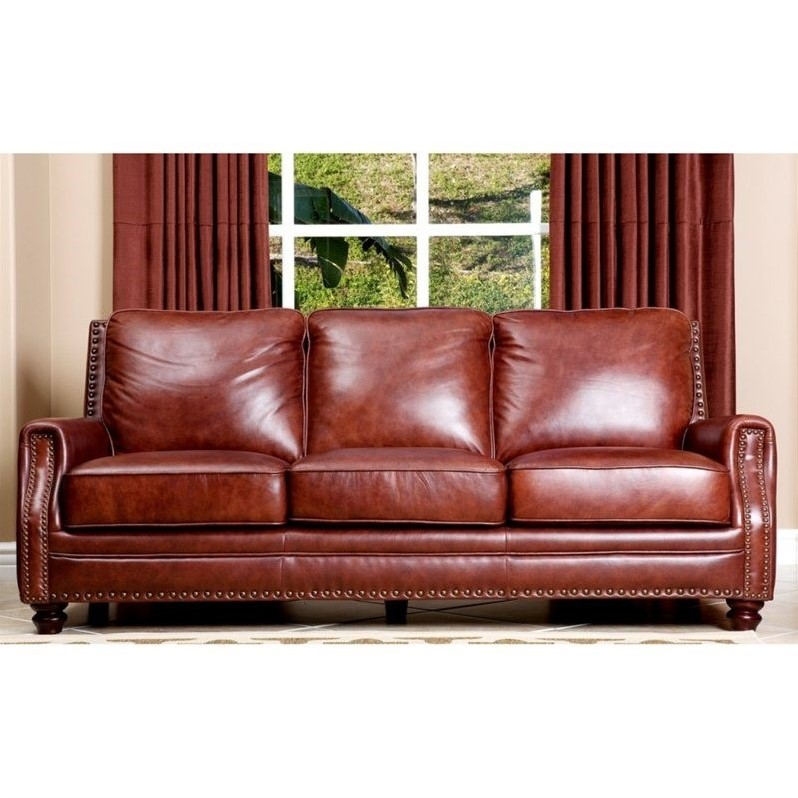 Abbyson living bel air 3 piece leather sofa set in brown for 3 piece brown leather sectional sofa