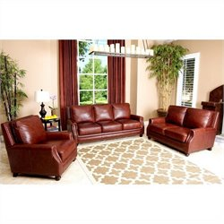 Abbyson Living Bel Air 3 Piece Leather Sofa Set in Brown