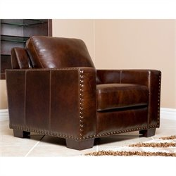 Abbyson Living Beverly Leather Arm Chair in Espresso