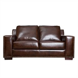 Abbyson Living Beverly Leather Loveseat in Brown