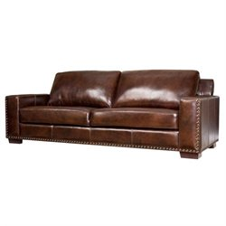 Abbyson Living Beverly Leather Sofa in Espresso