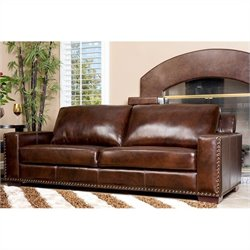 Abbyson Living Beverly Hand-Rubbed Leather Sofa in Espresso