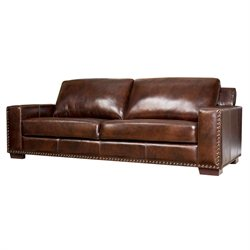 Abbyson Living Beverly 3 Piece Leather Sofa Set in Espresso