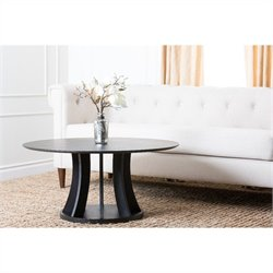 Abbyson Living Kinlin Wood Round Coffee Table in Espresso