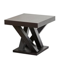 Abbyson Living Kinlin Square Wood End Table in Espresso
