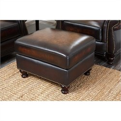 Abbyson Living Barclay Hand-Rubbed Leather Ottoman in Espresso