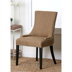 Abbyson Living Hudson Nailhead Fabric Dining Chair in Gold
