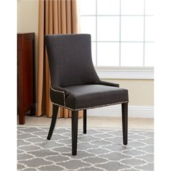 Abbyson Living Hudson Nailhead Fabric Dining Chair in Gray