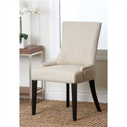 Abbyson Living Hudson Nailhead Fabric Dining Chair in White