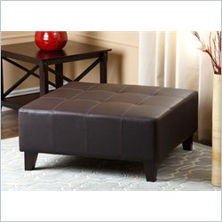 Abbyson Living Stratford Leather Square Ottoman in Brown
