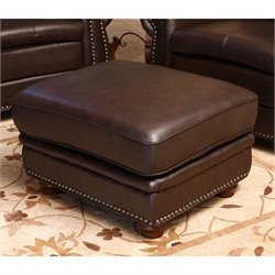 Abbyson Living Harrison Top-Grain Leather Ottoman in Brown