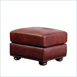 Abbyson Living Harbor Premium Semi-Aniline Leather Ottoman in Burgundy