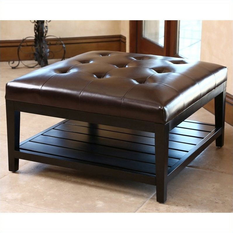 Abbyson living villagio square leather ottoman coffee table in brown hs ot 145 brn Brown leather ottoman coffee table