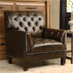 Abbyson Living Revello Leather Arm Chair in Brown