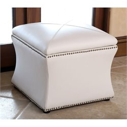 Abbyson Living Monica Pedersen Square Leather Storage Ottoman in Ivory