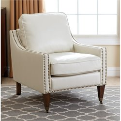 Abbyson Living Monica Pedersen Leather Arm Chair in Ivory