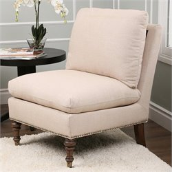 Abbyson Living Monica Pedersen Upholstered Slipper Chair in Beige